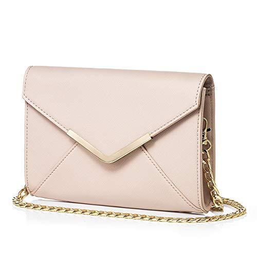 DeDe Diva Women's Clutch Bag, Envelope Evening Bag Clutch Purse for Women, Crossbody Shoulder Bag Handbags for Party Wedding (Light pink)