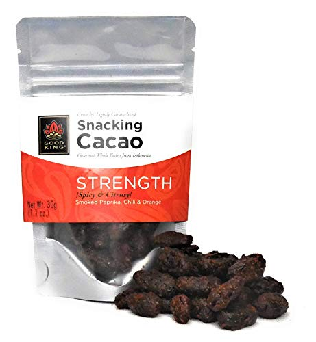 Cacao Beans Gourmet Snack by Good King | STRENGTH - Lightly Sweet, Chili & Orange | On the Go, All Natural Energy, Vegan, GMO-Free, Fair Trade | 30g (1.1 oz.)