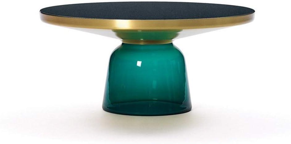 Adviseren ZRRtables salontafel voor woonkamer, Scandinavië gehard glas sofa tafel creatieve retro cocktailtafel duurzame bijzettafel met metalen frame Blauw Ac8MUnn