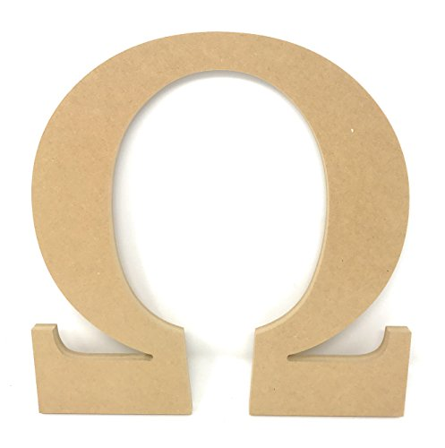 "12"" Wooden Greek Letter Omega Unfinished Greek Wooden Letters for Greek Fraternity / Sorority Paintable 12"