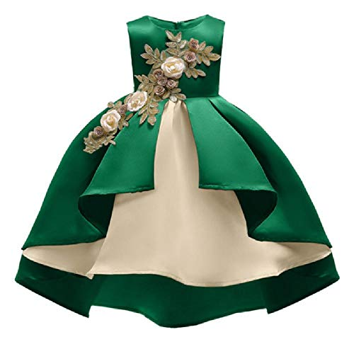 SAFJK 3-12Y New Year Flower Girls Dresses for Wedding Party Baby Girls Sleeveless Lace Embroidery Princess Party Green 12 -