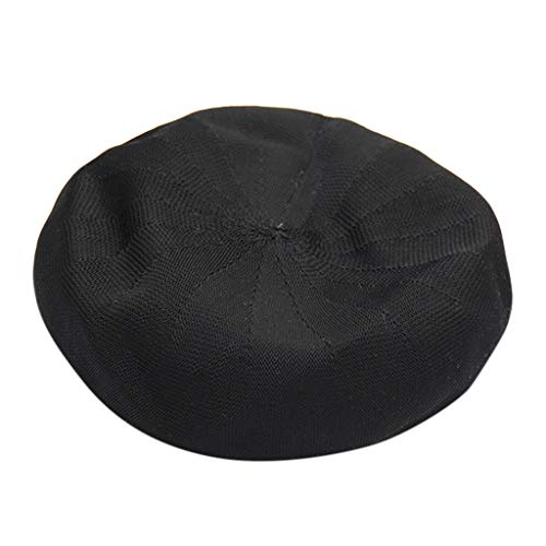 baskuwish Beret Hat French Style Beanie Hats Fashion Ladies Beret Caps Outdoor Hat Black]()