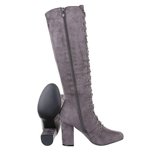 Grau Ital Pump Schnürstiefel Stiefel Heels Damenschuhe Design Schnürstiefel Reißverschluss High RxFZqRvwz