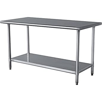 Amazoncom Stainless Steel Prep Work Table X NSF Heavy - Stainless steel work table with wheels