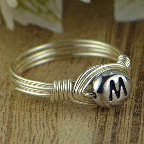 9 Personalized Two LetterInitial Sterling Silver Filled Wire Wrapped Ring- Any Size- Size 4 13 5 7 8 12 11 6 10 14