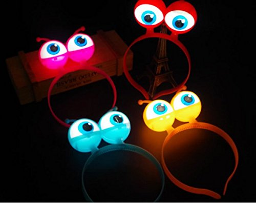 URToys 5Pcs LED Light Up Luminous Halloween Vocal Concert Props Supplies Aliens Eyes Head Hair Hoop Band Party Decoration Adults Kids Hair Accessories Gift -