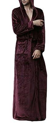 Macondoo Men Warm Homewear Bathing Stylish Hooded Flannel Sleepwear Long Robes