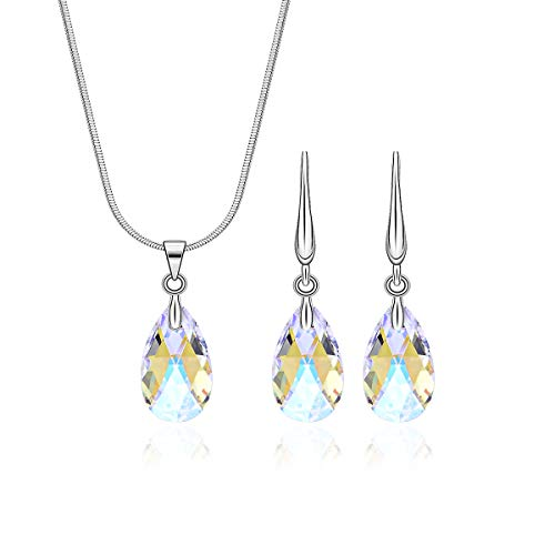Crystal Jewelry Set for Wedding Sterling Silver Pear Shaped CZ Cubic Zirconia Pendant Necklace Earrings Set for Women Girls Teardrop Swarovski Necklace Set for Bride Bridesmaids Bridal Party Prom