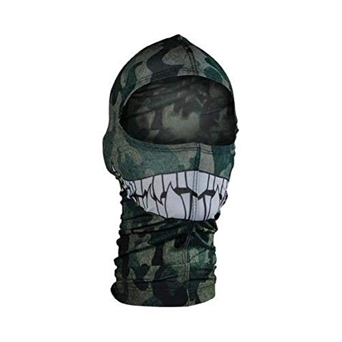 - Zan Headgear Nylon Balaclava Camo with Teeth (Green, OSFM)