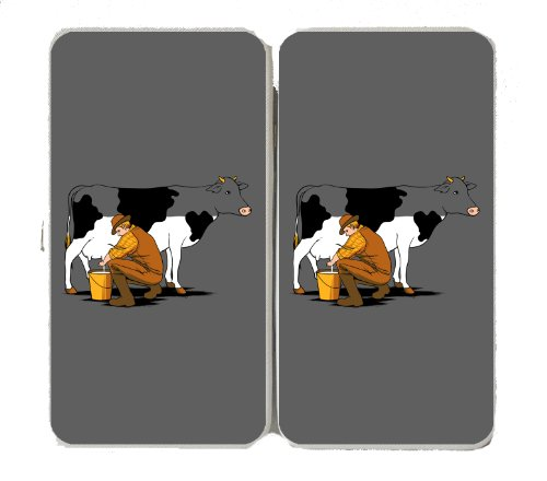 """""""Milking Out"""" Funny Man Milking Cow Draining White Color - Taiga Hinge Wallet Clutch"""