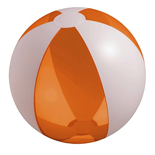 eBuyGB Inflatable Beach Ball - Diameter Approx. 25 cm (Transparent Orange / White) -