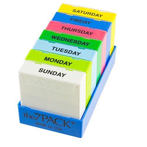 Borin-Halbich 7 Day Pill Organizer - 3 Compartment Daily Pill Boxes in Shallow Blue Tray (Made in USA) by Borin-Halbich