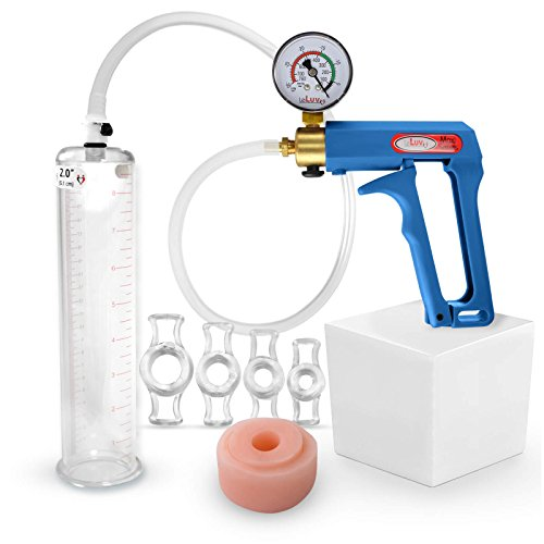 Bundle of 3 items: LeLuv MAXI Blue plus Vacuum Gauge Penis Pump, Silicone Donut Seal & 4 Sizes of Constriction Rings 9 Inch Length x 2.00 Inch Cylinder Diameter
