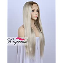 K'ryssma Fashion Ombre Blonde Glueless Lace Front Wigs 2 Tone Color Dark Roots Side Part Long Natural Straight Heat Resistant Synthetic Hair Replacement Wig For Women Half Hand Tied 24inches