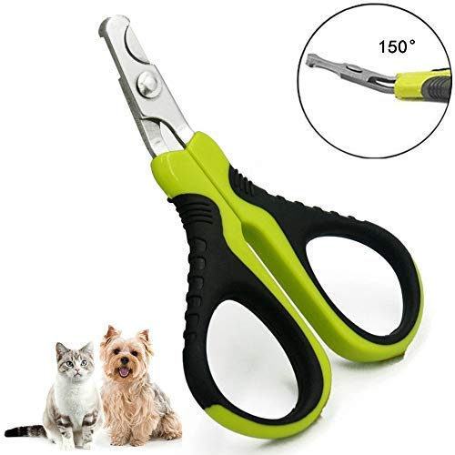 FAOUGESS Cat Nail Clippers, Professional Puppy Nail Clippers, Pet Claw Trimmer/Cutter/Scissor, Great Grooming Tool for Puppies, Cats, Rabbits and Small Breeds (Green-Black)