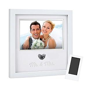 Best Epic Trends 41DB4sOnZhL._SS300_ Pearhead Heart Thumbprint Keepsake Photo Frame and Ink Kit, Wedding Registry, Wedding Gift, White