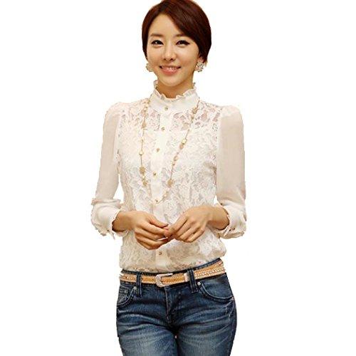 Lantomall Frauen Langarm-Sheer Lace Floral Chiffon-Hemd