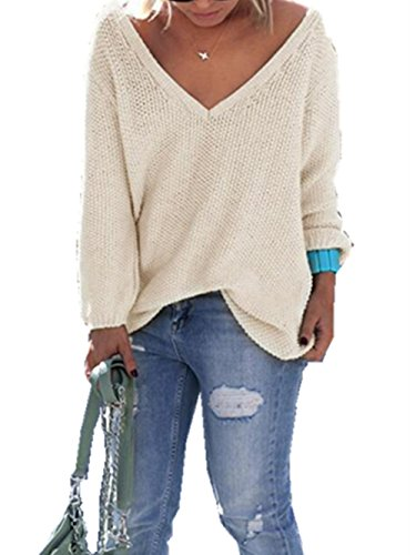 Buetyart Women Autumn Sweater V-Neck Pullovers Long Sleeve Jumpers Womens Knitted Blouse