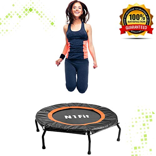 Rebounders Mini Trampolines For Adults - Fitness Trampoline, Workout Trampoline, Rebounder Trampoline for Adults and Kids, Personal Trampoline With Bungee Rope System for Home Cardio Workouts ()