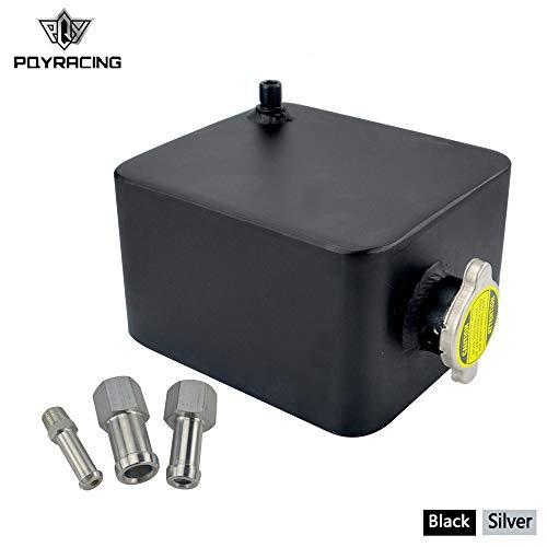 PQYRACING 2L Polished Alloy Header Expansion Water Tank & Cap Water Header Tank Coolant Overflow Tank Reservoir Kit Black