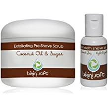 BIKINI SOFT Coconut Oil & Sugar Perfect Shave Set (5 oz) - Organic Sugar Pre-Shave EXFOLIATING BODY SCRUB & Coconut Joy Shave Oil - GIVES YOU THE SMOOTHEST SHAVE EVER -Perfect For Sensitive Skin