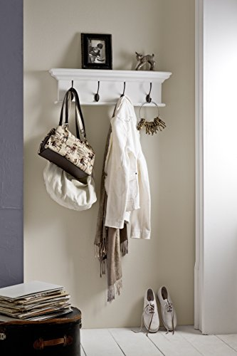 (NovaSolo Halifax Pure White Mahogany Wood 4-Hook Coat Rack And Top Shelf)