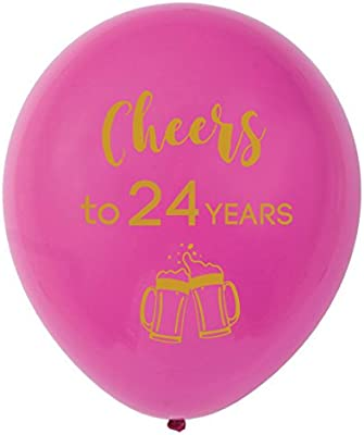 Amazon.com: Globos de látex rosa de 24 años, 11.8 in (16 ...