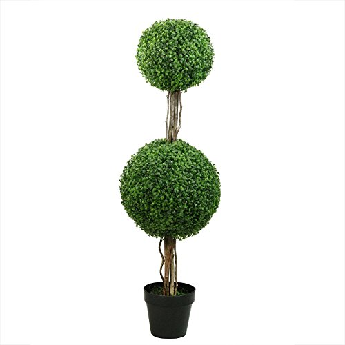 Northlight 48'' Potted Artificial Two Tone Green Double Ball-Shaped Boxwood Topiary Garden Decoration by Northlight