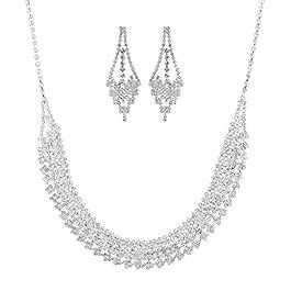 Lux Accessories Silvertone Rhinestone Special Occasion Fashion Jewelry Set 2PC