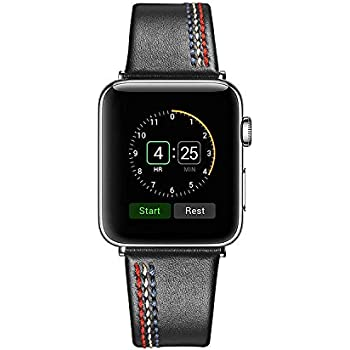 Secbolt Leather Bands Compatible Apple Watch, 38mm 40mm Series 4 3 2 1, Replacement Wristband Strap for Iwatch Nike+, Edition Stainless Steel Buckle, Black