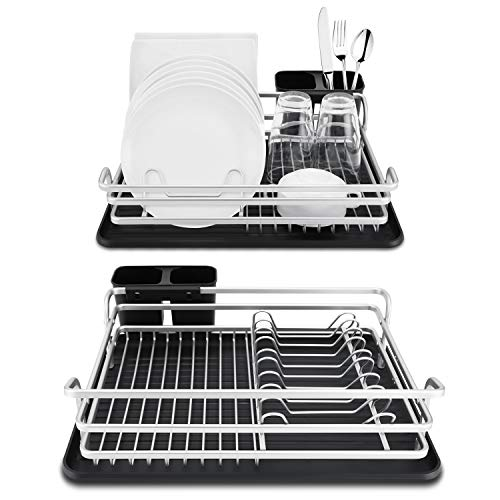 - Spening Aluminum Dish Drying Rack - Deluxe Rusfproof Dish Drainers for Kitchen Counter and Drainboard set, Compact & Portable, Gray