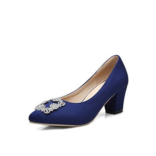 Balamasa Femmes Zircon Boucle Carrée Bout Pointu Imité Daim Pompes-chaussures Darkblue