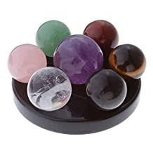 Top Plaza 7 Chakra Star Group Rock Healing Energy Gemstone Crystal Balls Statue Figurines Array on Obsidian Stand, for Chakra Healing, Devination, Home Decor(16 MM Balls)