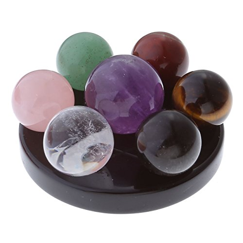 Top Plaza 7 Chakra Star Group Rock Healing Energy Gemstone Crystal Balls Statue Figurines Array on Obsidian Stand, for Chakra Healing, Devination, Home Decor(16 MM Balls Obsidian Stand) (Rose Quartz Sphere)