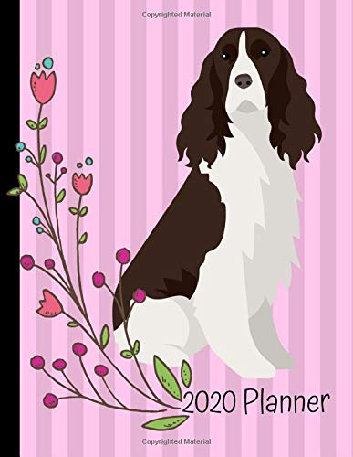 2020 Planner: English Springer Spaniel Dog Pink 2020 Monthly Planner Organizer Undated Calendar And ToDo List Tracker Notebook 1