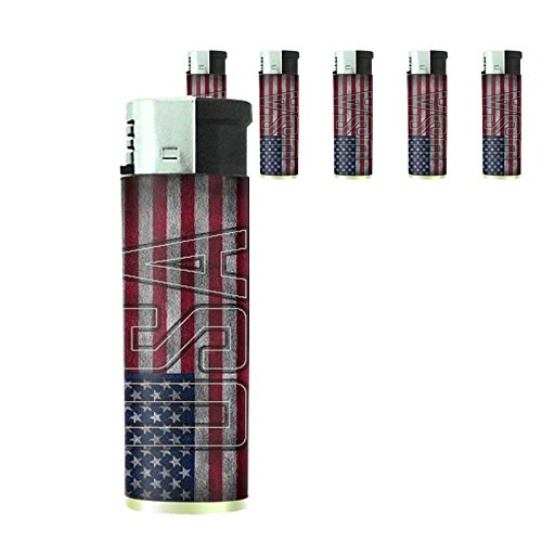 Vintage American Flag Set of 5 Lighters D7 Patriotic Freedom American Heroes Veterans by Perfection In Style