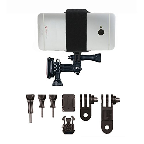 GoPro Style Helmet Mount Kit with Action Mount Adapter for Smartphone, Operable with Any Phone. Includes Parts shown, with...