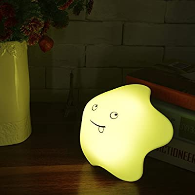 Kllarmant Lucky-Star Night Light, LED Multicolor Silicone Cute Smiling Face Lamp, USB Rechargeable, Tap Control, 7 Colors Single / Change Mode, for Baby Adults Bedroom.