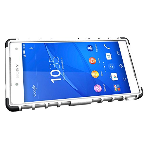[SCIMIN] Sony Xperia Z5caja compacta, Xperia Z5Mini cubierta, protección de doble capa/a prueba de golpes/Drop resistencia Hybrid Rugged Case Cover con función atril para 4,6¡¯ ¡¯ Sony Xperia Z5Co blanco