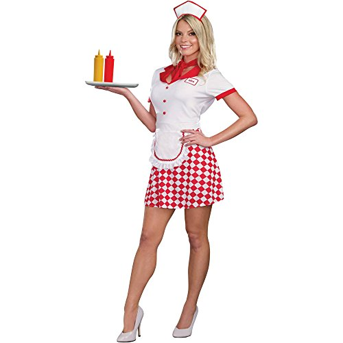Womens 1950s 50's Diner Gal Waitress Costume Size Large 12/14