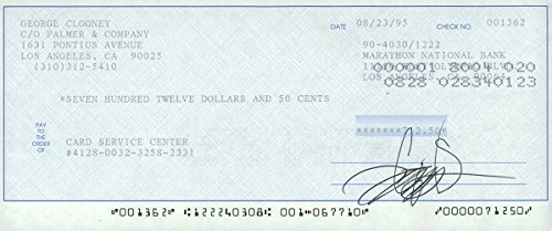 Signed Clooney, George Personal Check autographed