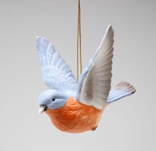 Cosmos Gifts Fine Porcelain Hand Painted Bluebird Blue Bird Figurine Hanging Ornament, 3