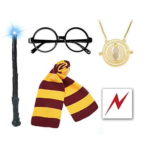 QXFQJT Novelty Glasses Striped Knit Scarf with Light Wizard Wand, Time Turner Necklace, Bolt Scar Tattoo, Cosplay Party Costumes Accessories Kid's Gift, 6PCS