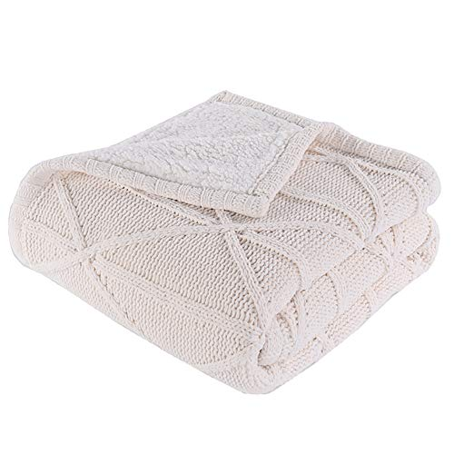 (Battilo Luxury All Season Soft Chenille Cable Sweater Knitting Throw Blanket Quilt Throw with Sherpa Lining for Bed Sofa Couch Decor, 51x67 Inch)
