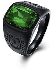 خاتم تركي مزين بفص زركون اخضر مقاوم للخدوش والصدأ والماء للرجال - اسود