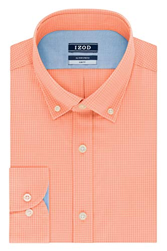 IZOD Men's Dress Shirts Slim Fit Stretch Gingham, Peach, 14.5