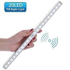 LED Closet Light, Lofter 20-LED Wireless Motion Sensor Night Light Under Bar Cabinet Lighting (Battery Operated) (1 Pack)