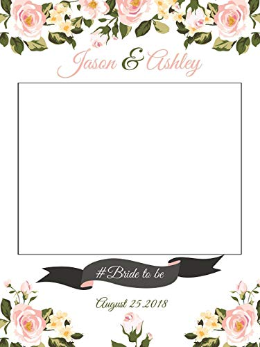 Custom Roses Wedding Photo Booth Frame - Sizes 36x24, 48x36; Personalized Flowers for the Speical Day Wedding Home Decorations, Handmade Party Supply Photo Booth -