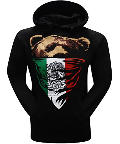 California Republic Mexican Flag Bandana Bear Men's Hoodie Hooded Sweatshirt- (Medium) - Black - Mexican Bear