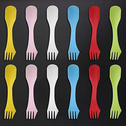 Euone 12pcs Camping 3in1 Fork Spoon Knifes Cooking Utensil Cutlery Spork Travel -